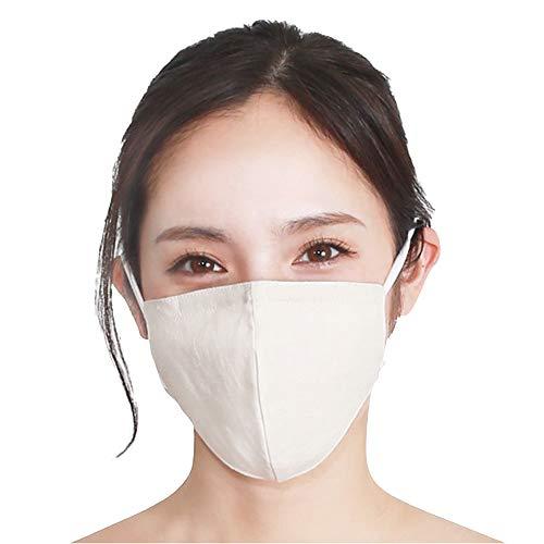 H12-0013_NTL-ML ファブリックケアマスク(リネン無地タイプ/M-Lサイズ/ナチュラル)肌側シルク100% 洗える 耳が痛くならない 花粉除去率96%