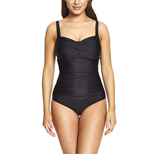 Zoggs Margarita Ruched Front Traje de baño de una Pieza de Tela ecológica, Negro, 40-Inch/UK 16 para Mujer