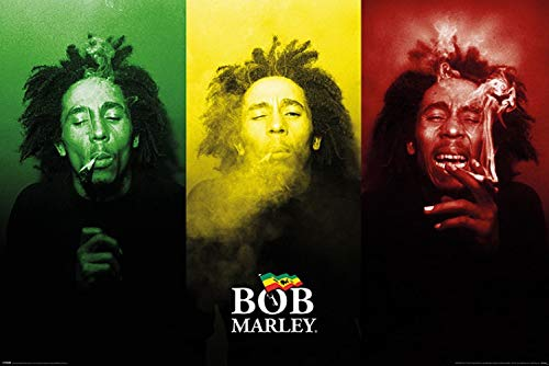 1art1 Bob Marley - Smoke, Jamaika Flagge Poster 91 x 61 cm