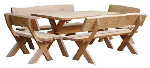 Sitzgruppe Waidmann 5-teilig I Gartenmöbel Set aus Eiche 5-teilig | rustikales Design aus Massivholz für Outdoor und Indoor | wetterfest | Made in Germany I Gartenmöbel I Sitzgruppe I Sitzgarnitur