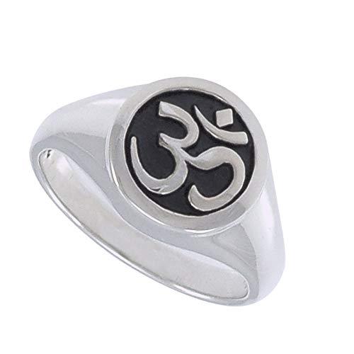 TreasureBay Men's Women's 925 Sterling Silver Ohm Om Ring For Men, Women and Yogis (R)