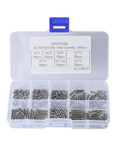 230PCS Schrauben und Muttern Set M2 Edelstahl Schrauben Muttern Sechskantschrauben Sortiment Kit mit Aufbewahrung Flach Fall Box SPDYCESS