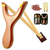 Golden Silk Yellow Wood Slingshot, Natural Precious Wood Catapult Without Paint, Collector's Edition Catapults , Additional 30 Slingshot Ammo, 2 Rubber Bands, Storage Box, Kid Catapult Entertainment