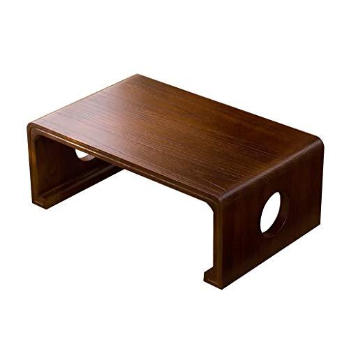 Tables Baie Vitrée Lit Petite Rétro Basse en Bois Massif Salon Basse Étude Apprentissage Basse Basses (Color : Brown, Size : 60 * 40 * 30cm)