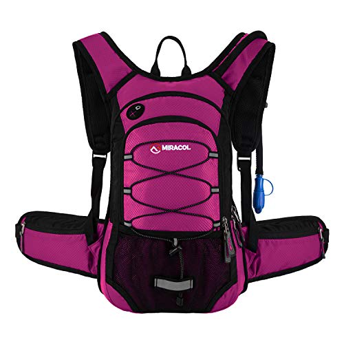 MIRACOL Hydration Backpack with 2L BPA Free Water Bladder, Thermal Insulation Pack Keeps Liquid Cool up to 4 Hours, Perfect Outdoor Gear for Hiking, Cycling, Camping, Running ?Rose?