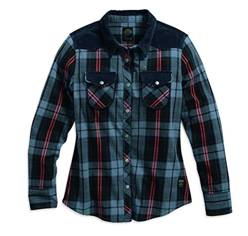 Harley Davidson Corduroy Accent Plaid Shirt