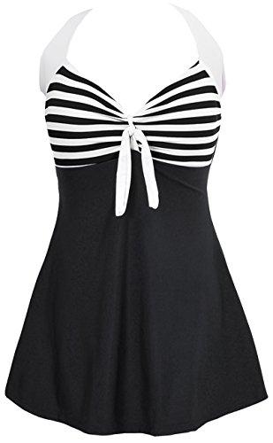 PANOZON Damen Neckholder Push Up Tankini mit Hotpants Badeanzug Schlankheits Mit Röckchen Bademode (M, 2 Schwarz Streifen)