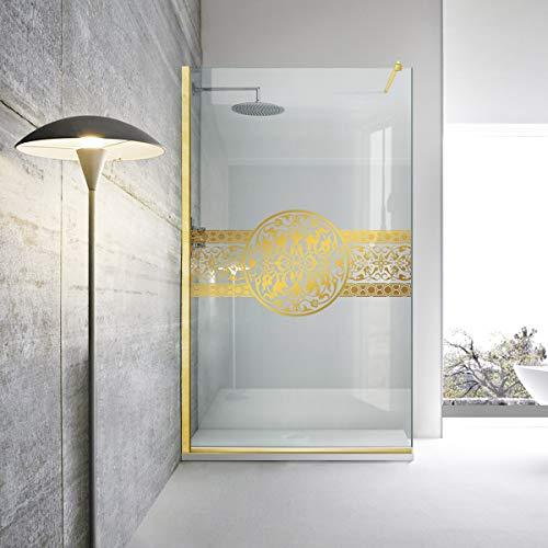 Golden Shower Screen Leroy Timeless – Medallón de Doha, vidrio templado de seguridad transparente, nano, revestido, acabado de latón dorado con brillo de espejo por Modern Glass Art (110 x 195 cm), color dorado, dorado