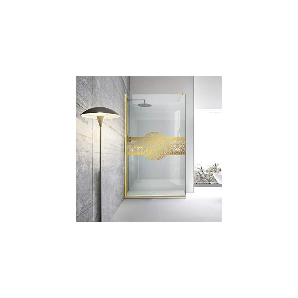 Paroi de douche dorée Leroy Timeless – Médaillon Doha en verre de sécurité trempé transparent de 8 mm, revêtement nano…