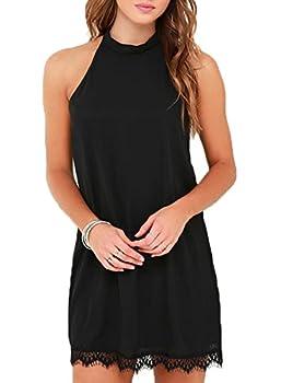 Fantaist Women s Summer Backless Halter Neck Lace Mini Short Casual Shift Dress  L FT610-Black