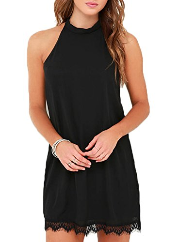 Fantaist Women's Halter Neck Sleeveless Lace Trim Loose Shift Mini Casual Dress (XS, FT610-Black)