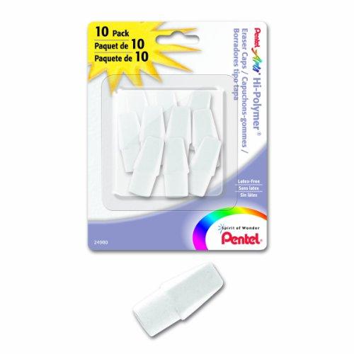 Pentel Arts Hi-Polymer White Cap Erasers (ZEH02PABP10)
