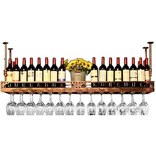 Estante para botellas de vino con altura ajustable, para colgar en el techo, apto para barras, cafeterías, bares, salas de estar, color negro, bronce) (color dorado, tamaño: 100 cm