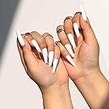Sethain Mate Bailarina Uñas falsas Azul Puro Uñas falsas Largo Cobertura total Ataúd Presione en las uñas para mujeres y niñas (Blanco)