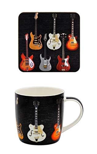 The Leonardo Collection LP46356 Gitarren-Tasse und passender Untersetzer, feines Porzellan, verpackt