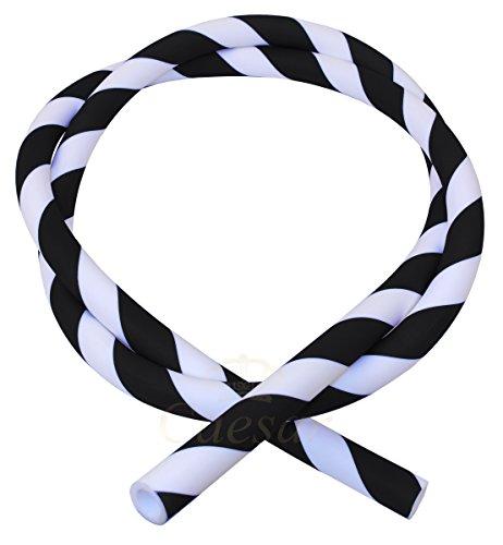 Caesar Silikonschlauch Striped für Shishas (Silver-White)   Schlauch...