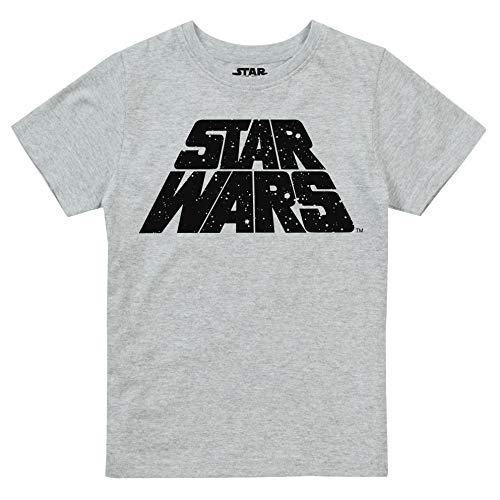 Star Wars Retro Galaxy Camiseta, Gris (Grey Marl SPO), 7-8 años para Niños