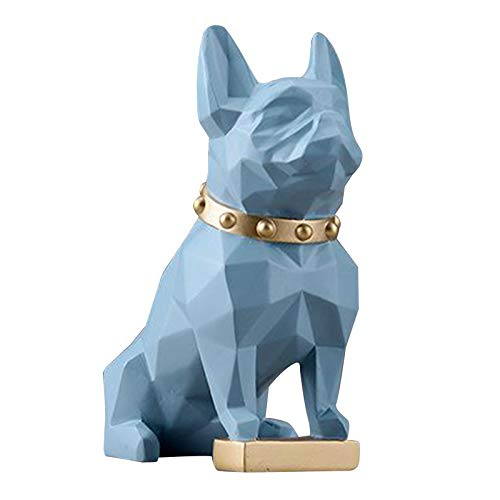 FLAMEER French Bulldog Decor Dog Sculptures Abstract Animal Figurines Geometric Surface Puppy Statues Gift Present for Home Office Desktop Decor - Blue Small