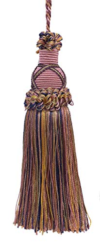 Decorative 14cm Key Tassel, Dusty Rose, Dark Blue, and Light Olive Imperial II Collection Style# KTIC Color: OLIVE ROSE - 1010