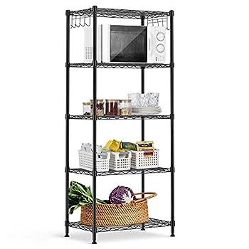 alvorog 5-Shelf Shelving Storage Unit Heavy Duty Metal Organizer Wire Rack with Leveling Feet and Hooks Adjustable Shelves for Bathroom Kitchen Garage  23.2Lx13.4Wx59.1H