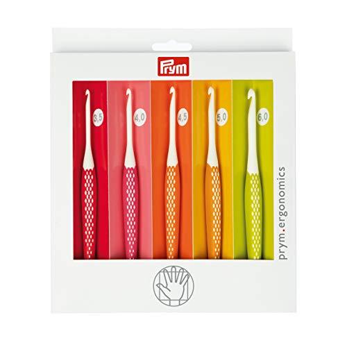 Prym 218440 Wollhäkelnadel Set prym.ergonomics, 3,5-6,0mm, Kunststoff, multicolor, alabasterweiß, 3,5 mm - 6 mm
