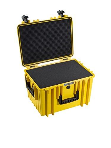 B&W Outdoor Case Hartschalenkoffer Typ 5500 mit Schaumstoff (Hardcase Koffer IP67, SI Würfelschaum, wasserdicht, Innenmaß 43x30x30cm, Gelb)