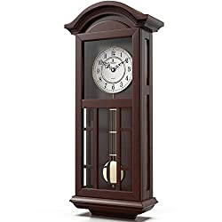 Pendulum Wall Clock Battery Operated - Quartz Wood Pendulum Clock - Silent, Large Dark Wooden Design, Decorative Wall Clock Pendulum For Living Room, Office, Kitchen & Home Décor Gift, 27 x 11.5