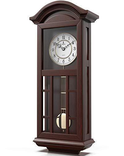 Pendulum Wall Clock Battery Operated - Quartz Wood Pendulum Clock - Silent, Large Dark Wooden Design, Decorative Wall Clock Pendulum For Living Room, Office, Kitchen & Home Décor Gift, 27' x 11.5'