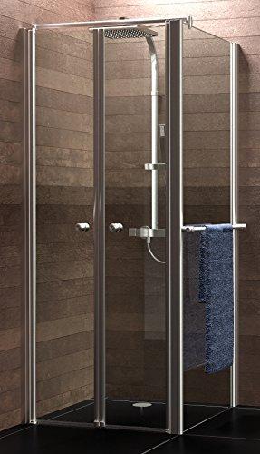Schulte Duschkabine Garant Pendeltür + Seitenwand, 90 x 90 cm, 200 cm, 6 mm Sicherheitsglas klar beschichtet, chrom-optik, Montage auf Duschwanne