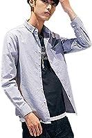 シャツ メンズ シャツジャケット ボタンダウンシャツ メンズシャツ 長袖 カジュアル ポケット付き オックスフォード ビジネス (グレー, XXXL(Japan Size XL))