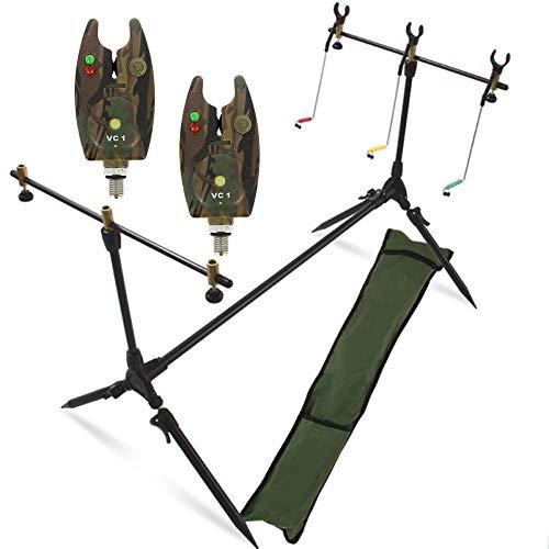 g8ds® Set Rod Pod Rutenhalter + Tragetasche inklusive 2 Bissanzeiger mit Lautstärkeregeler Karpfen Angeln