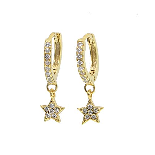Pendientes Mujer Pendientes Delicate Cute Mini Mujeres 925 Sterling Dangle Earring-Gold-Color_White