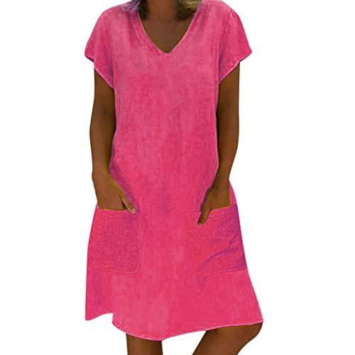 Vestido Corto Informal con Bolsillos, Vestido de Verano de Yvelands para Mujer Vestido de Talla Grande Camiseta de algodón y de Lino Vestido a Media