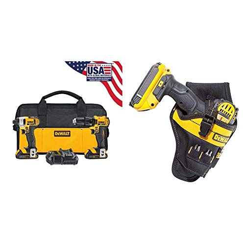 DEWALT 20V MAX Impact Driver and Drill Combo Kit with Impact Driver Holster (DCK280C2 & DG5121)