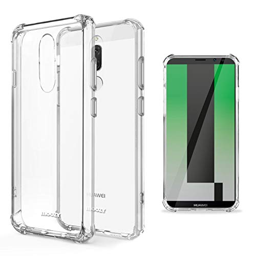 Moozy Funda Silicona Antigolpes para Huawei Mate 10 Lite - Transparente Crystal Clear TPU Case Cover Flexible