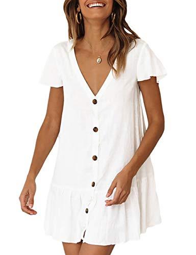 Bsubseach Mujer Blanco Traje de Baño Elegante Vestido de Playa con Botón Encubrimiento Bikini Camisa con Cuello en V Camisola y Pareos