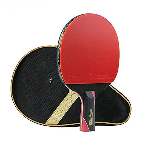 Lijincheng Paleta de Ping Pong 1 Pieza Huieson 5 Estrella Negro y Rojo Fibra de Carbono Tabla Raqueta de Tenis Doble-espinillas en la Goma del Ping-Pong de la Raqueta for el Adolescente Jugador