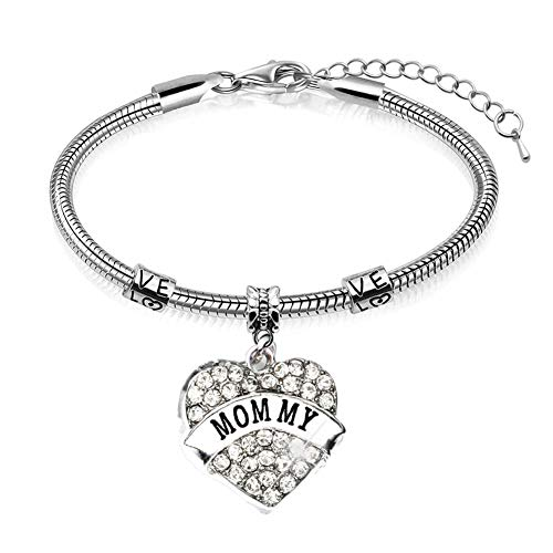 Cheaonglove Bracelet For Mum Mum Bangle Daughter Gifts Presents For Mum Gifts For Mum Gift For Mum Mother And Daughter Bracelets Mam Bracelet clear,mommy