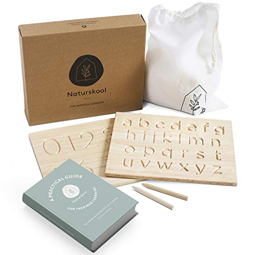 Naturskool Alphabet Tracing Board   Free eBOOK   Wooden Montessori Materials   ABC 123   Sensory Letter Board with Letters Numbers & Patterns   Helps Develop fine Motor Skills for Children Aged 3+