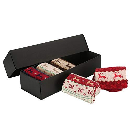 LATH.PIN 5 Paia Donna Calze Lungo Natale Design Casual Calzini Lana Caldo di Inverno Calze Antiscivolo Unisex Calze di Natale Regali