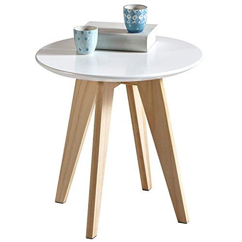 My-goodbuy24 Hochwertiger Couchtisch Beistelltisch Nachttisch Telefontisch Konsole Blumenhocker Tisch rund MDF 40cm massiv Holz weiß Kiefer