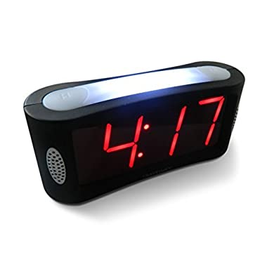 Travelwey Home LED Clock-Outlet Powered, No Frills Simple Operation, Large Night Light, Loud Alarm, Snooze, Full Range Brightness Dimmer, Big Red Digit D Display, Black