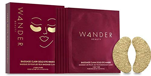 Under Eye Patches - Brightens Dark Circles, Hyaluronic Acid Under Eye Mask for Puffy Under Eye Bags, Fine Lines, Wrinkles, Dullness, Hydrates, Moisturizes, 6 Pair. Wander Beauty Baggage Claim - Color: Gold