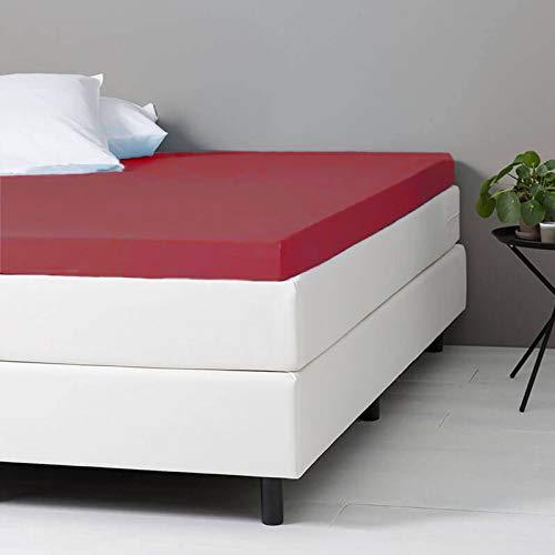 Verkoelend Topper Hoeslaken - Bordeaux - 80x200 cm - Percal Katoen - Dekbed-Discounter - Voor Matrassen Tot 8 CM