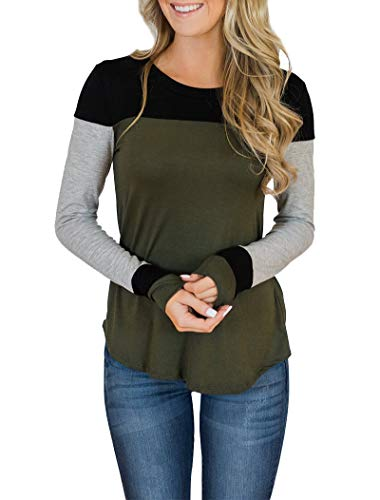 Minthunter Women's Long Sleeve Crew Neck Cute Tunic Color Block Tops