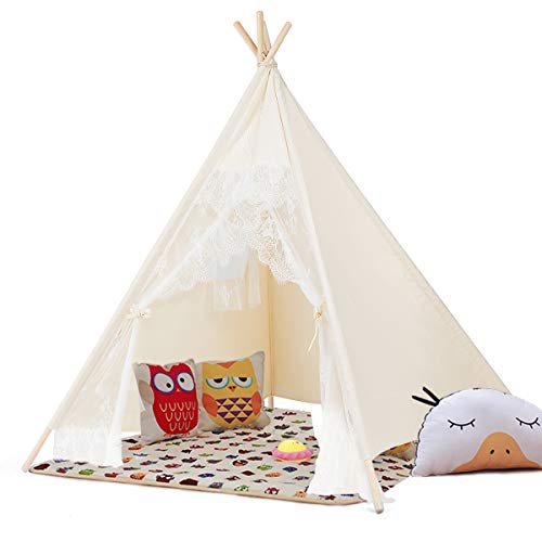 New HONEY JOY Kids Teepee Tent, Lace Tent for Girls, Foldable Canvas Indian Play Tent with Window and Carry Bag, Portable Playhouse for Indoor Outdoor