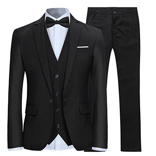 Anzug Herren Slim Fit 3 Teilig Anzüge Modern Herrenanzug 3-Teilig Sakko Hose Weste für Business Hochzeit Schwarz Medium