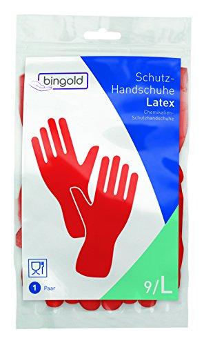 BINGOLD - Guanti protettivi in lattice, taglia S, M, L o XL (colori: blu, giallo, rosso), L, Colore: rosso, 1