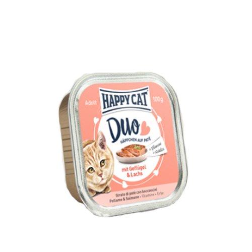 Happy Cat Pate auf Häppchen Geflügel & Lachs, 12er Pack (12 x 100 g)