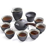 UMITEASETS – Juego de té japonés – Juego de té de cerámica negra japonesa – Juego de té de cerámica gruesa